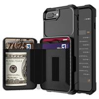 Business Style iPhone 7 Plus / 8 Plus TPU Case met Portemonnee - Zwart