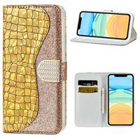 Croco Bling Serie iPhone 12 mini Wallet Case - Goud
