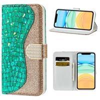 Croco Bling Serie iPhone 12 mini Wallet Case - Groen