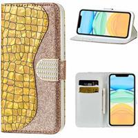 Croco Bling iPhone 12/12 Pro Wallet Case - Goud