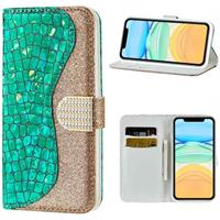 Croco Bling iPhone 12/12 Pro Wallet Case - Groen