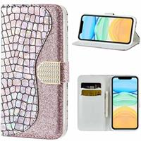Croco Bling iPhone 12/12 Pro Wallet Case - Rose Gold