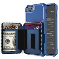 Business Style iPhone 7 Plus / 8 Plus TPU Case met Portemonnee - Blauw