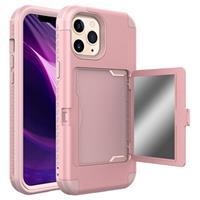 iPhone 12 Pro Max Hybrid Hoesje met Spiegel en Kaarthouder - Roze