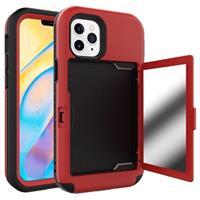 iPhone 12/12 Pro Hybrid Hoesje met Spiegel en Kaarthouder - Rood