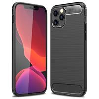 iPhone 12/12 Pro Geborsteld TPU Hoesje - Koolstofvezel - Zwart