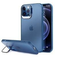 iPhone 12/12 Pro Hybride Hoesje met Verborgen Standaard - Blauw / Doorzichtig