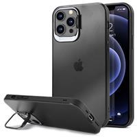 iPhone 12 Pro Max Hybride Hoesje met Verborgen Standaard - Zwart / Doorzichtig