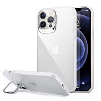 iPhone 12 Pro Max Hybride Hoesje met Verborgen Standaard - Wit / Doorzichtig