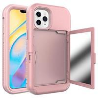 iPhone 12/12 Pro Hybrid Hoesje met Spiegel en Kaarthouder - Roze