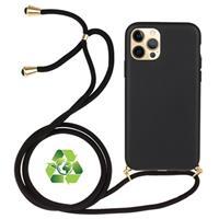 iPhone 12 Pro Max Duurzaame Hoesje met Riem - Zwart