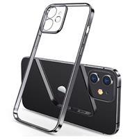 Sulada Plating Frame iPhone 12 TPU Case - Zwart / Doorzichtig