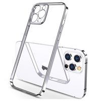 Sulada Plating Frame iPhone 12 Pro Max TPU Case - Zilver / Doorzichtig
