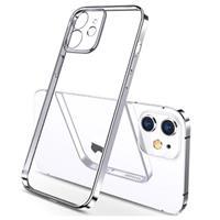 Sulada Plating Frame iPhone 12 TPU Case - Zilver / Doorzichtig