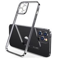 Sulada Plating Frame iPhone 12 Pro Max TPU Case - Zwart / Doorzichtig