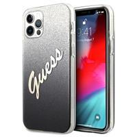 Guess Glitter Gradient Script iPhone 12/12 Pro Hoesje - Zwart