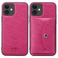 Vili T iPhone 12 Mini Hoesje met Magnetisch Portemonnee - Hot Pink