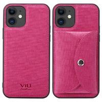 Vili T iPhone 12/12 Pro Hoesje met Magnetisch Portemonnee - Hot Pink