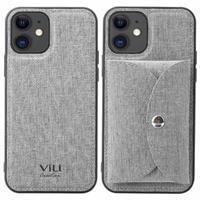 Vili T iPhone 12/12 Pro Hoesje met Magnetisch Portemonnee - Grijs