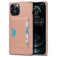 iPhone 12 Pro Max Hybrid Hoesje met Kaarthouder - Carbon Fiber - Roze