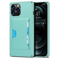 iPhone 12 Pro Max Hybrid Hoesje met Kaarthouder - Carbon Fiber - Groen
