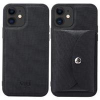 Vili T iPhone 12/12 Pro Hoesje met Magnetisch Portemonnee - Zwart
