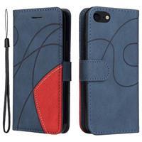 Bi-Color Series iPhone 7/8/SE (2020) Wallet Case - Blauw