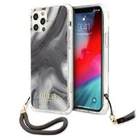 Guess Marble Collection iPhone 12/12 Pro Cover met Draagriem - Grijs