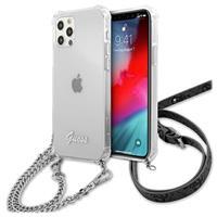 Guess Script & Chain iPhone 12/12 Pro Hoesje - Doorzichtig / Zilver