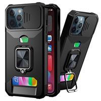 Multifunctionele 4-in-1 iPhone 12 Pro Max Hybrid Case - Zwart