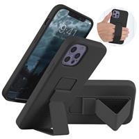 Saii iPhone 12 Pro Max Siliconen Hoesje met Handriem - Zwart