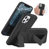 Saii iPhone 12/12 Pro Siliconen Hoesje met Draagriem - Zwart