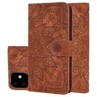 Mandala Series iPhone 11 Portemonnee Hoesje - Bruin