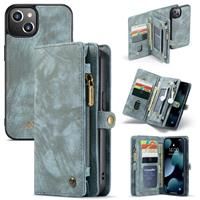 Caseme iPhone 13 -  - vintage 2 in 1 portemonnee hoes - Blauw