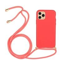 Lunso Backcover hoes met koord - iPhone 12 Pro Max - Rood