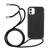 Lunso Backcover hoes met koord - iPhone 11 - Zwart