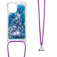 Lunso Backcover hoes met koord - iPhone 13 - Glitter Blauw