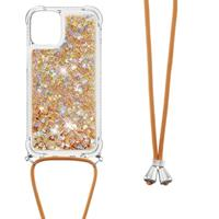 Lunso Backcover hoes met koord - iPhone 13 Pro Max - Glitter Goud