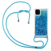 Lunso Backcover hoes met koord - iPhone 12 / iPhone 12 Pro - Glitter Blauw