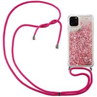 Lunso Backcover hoes met koord - iPhone 12 Pro Max - Glitter Roze