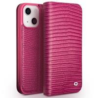 Qialino lederen luxe bookcase hoes - iPhone 13 - Croco Roze