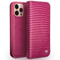 Qialino lederen luxe bookcase hoes - iPhone 13 Pro - Croco Roze