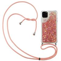 Lunso Backcover hoes met koord - iPhone 12 / iPhone 12 Pro - Glitter Rose Goud