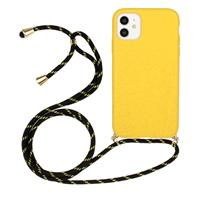 Lunso Backcover hoes met koord - iPhone 11 - Geel