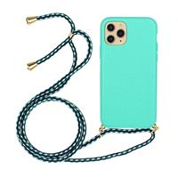Lunso Backcover hoes met koord - iPhone 12 / iPhone 12 Pro - Cyaan