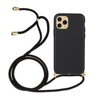 Lunso Backcover hoes met koord - iPhone 12 / iPhone 12 Pro - Zwart