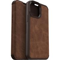 Otterbox iPhone 13 Pro Max -  - Strada Case wallet hoes - Bruin + Lunso Tempered Glass