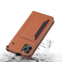 Lunso Bookcover hoes met stand - iPhone 12 / iPhone 12 Pro - Bruin