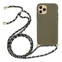 Lunso Backcover hoes met koord - iPhone 11 Pro Max - Army Groen