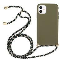 Lunso Backcover hoes met koord - iPhone 11 - Army Groen